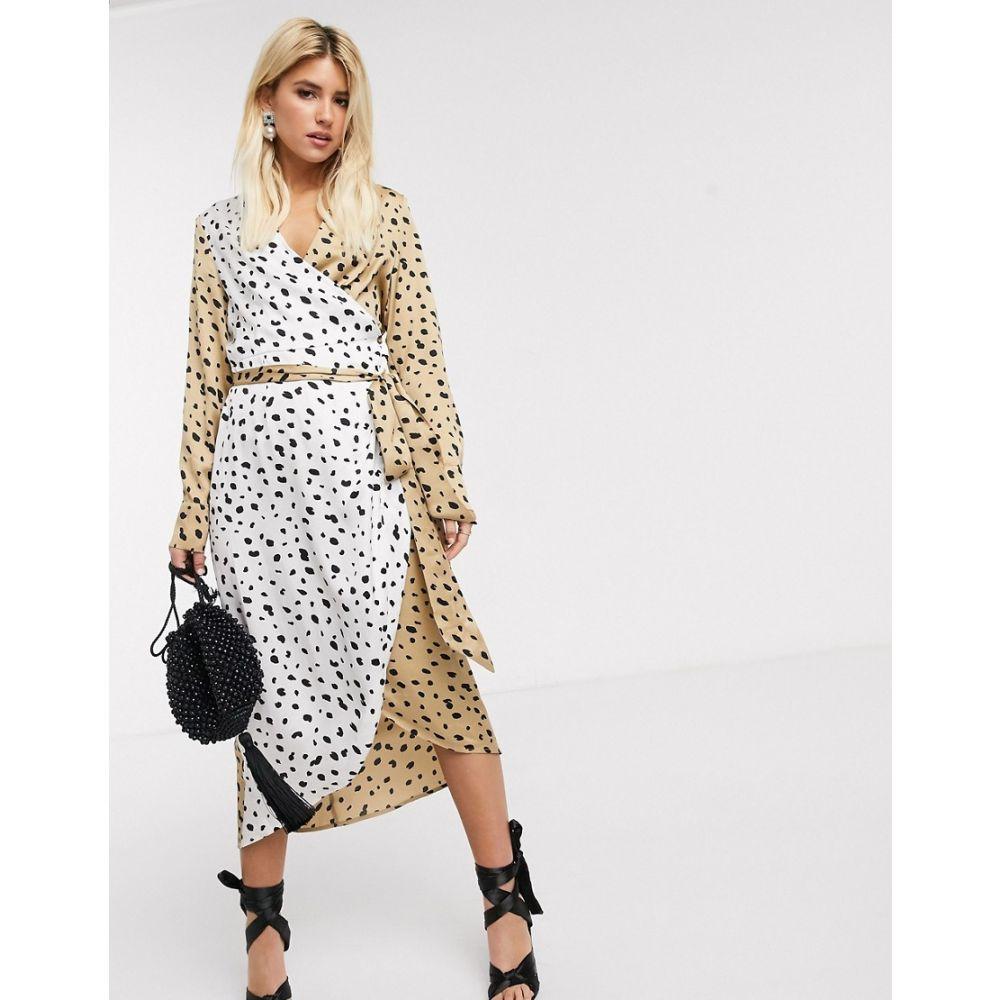 ネバーフリードレス Never Fully Dressed レディース ワンピース ラップドレス ミドル丈 ワンピース・ドレス【wrap midi dress with belt in contrast leopard】Multi