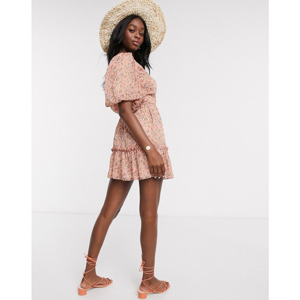 ミス セルフリッジ Miss Selfridge レディース ワンピース ラップドレス ワンピース・ドレス【wrap mini dress in pink floral print】Multi