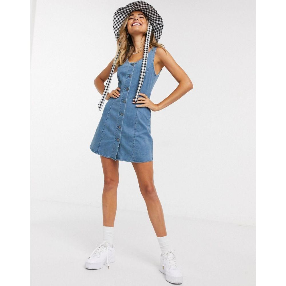 ミス セルフリッジ Miss Selfridge レディース ワンピース デニム ワンピース・ドレス【denim pinny dress in mid wash】Blue