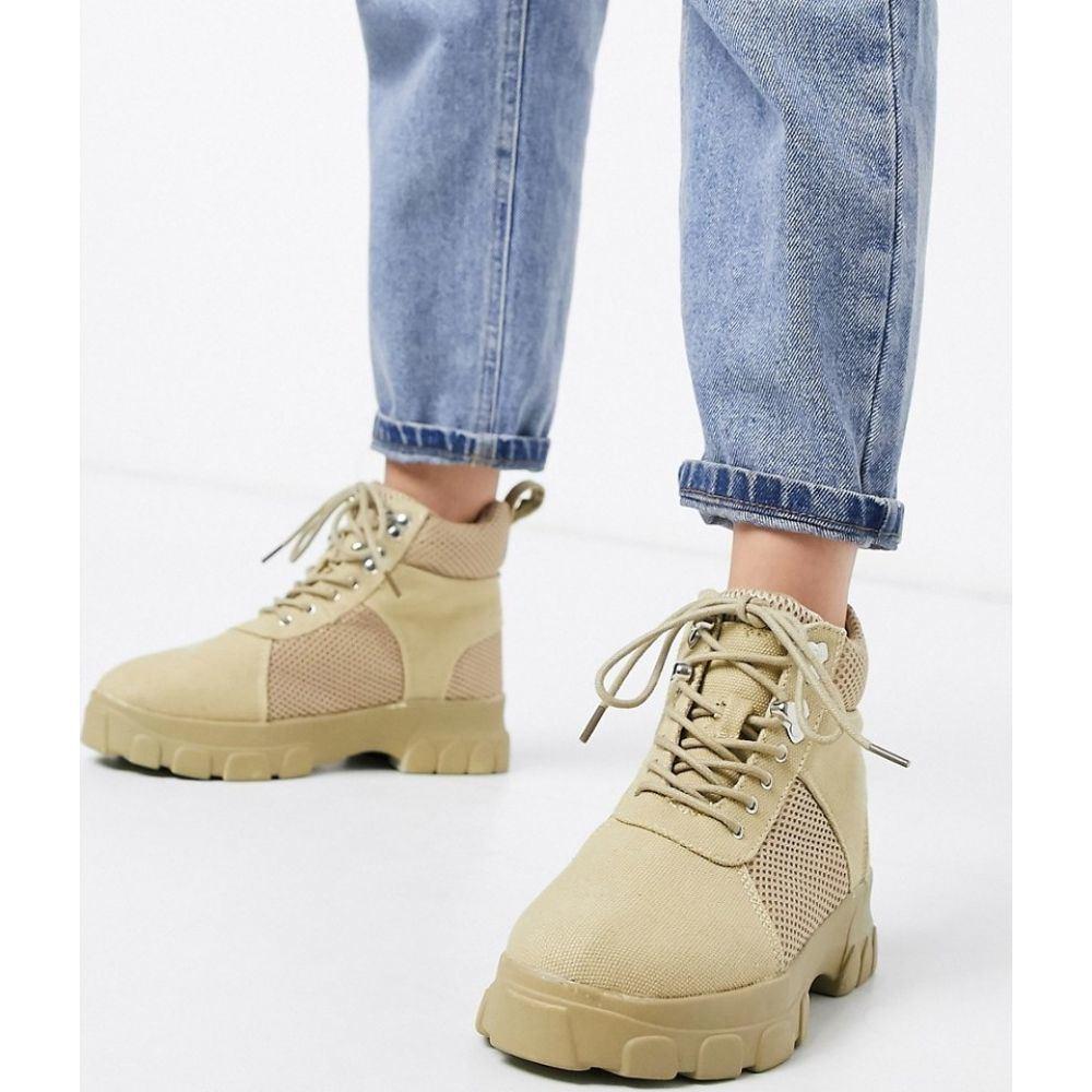 ミスガイデッド Missguided レディース ブーツ チャンキーヒール シューズ・靴【chunky hiking boots in sand】Sand