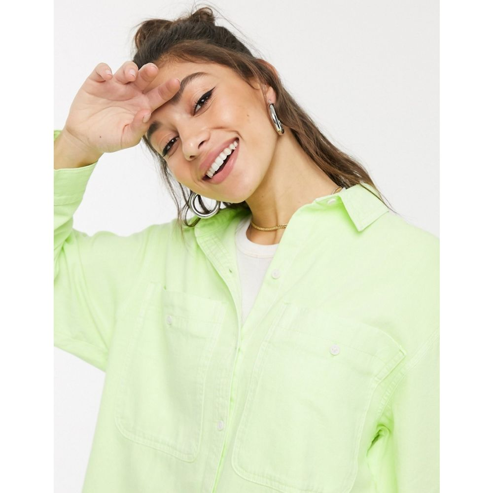 モンキ Monki レディース ブラウス・シャツ トップス【Allison organic cotton shirt in lime green】Yellow