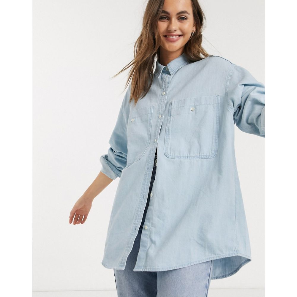 モンキ Monki レディース ブラウス・シャツ デニム トップス【Allison organic cotton denim shirt in beach blue】Blue