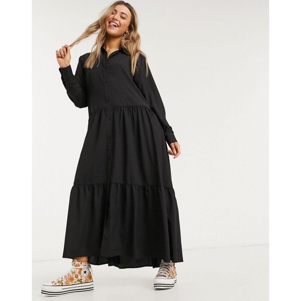 モンキ Monki レディース ワンピース ミドル丈 ワンピース・ドレス【Collina shirt midi dress in black】Black