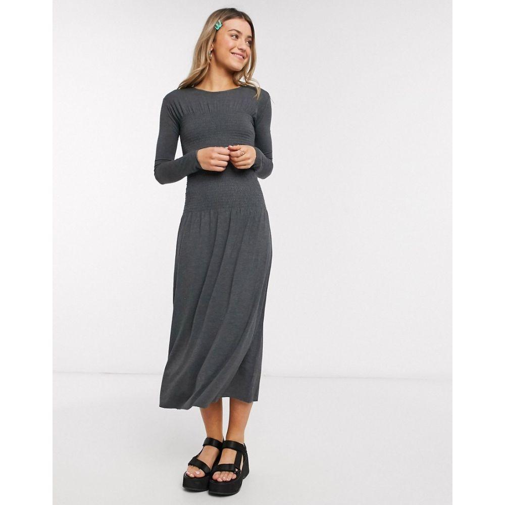 モンキ Monki レディース ワンピース ミドル丈 ワンピース・ドレス【Greta ruched waist long sleeve midi dress in grey】Grey