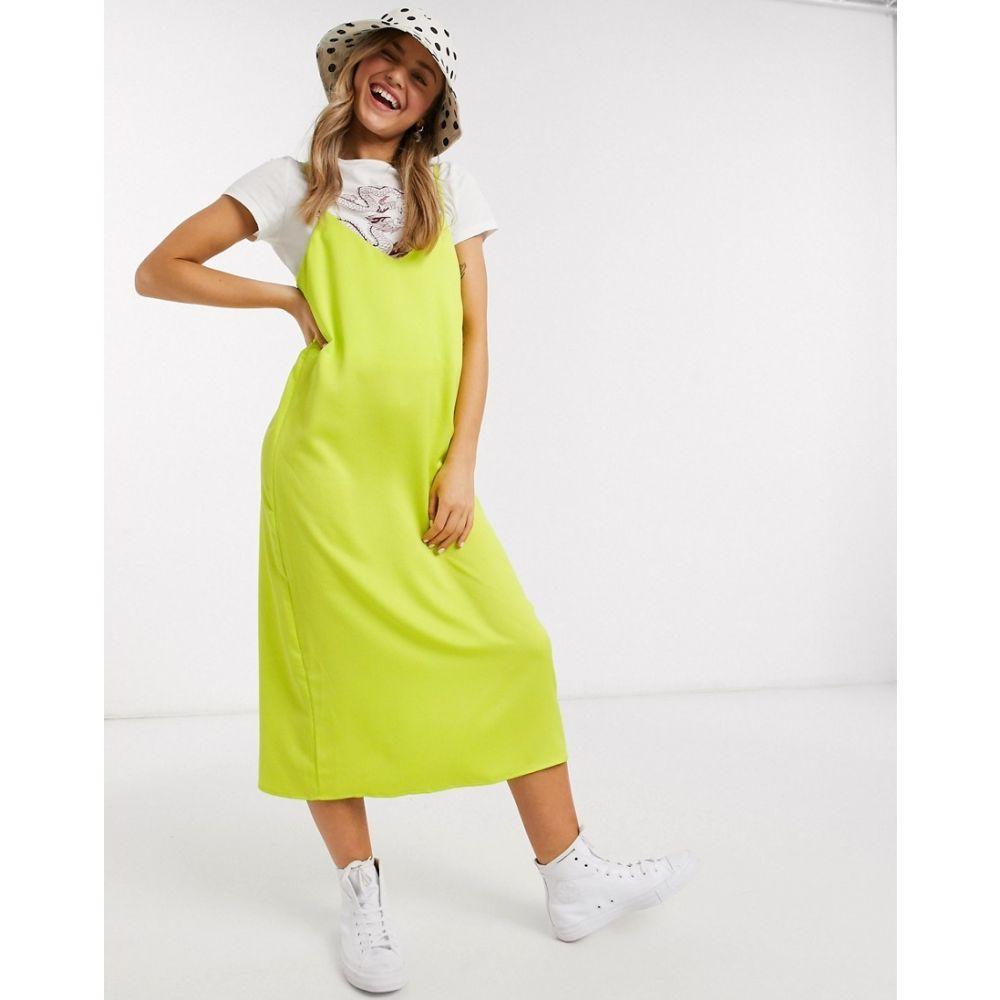 モンキ Monki レディース ワンピース キャミワンピ ワンピース・ドレス【Laila satin cami midi dress in lime green】Green