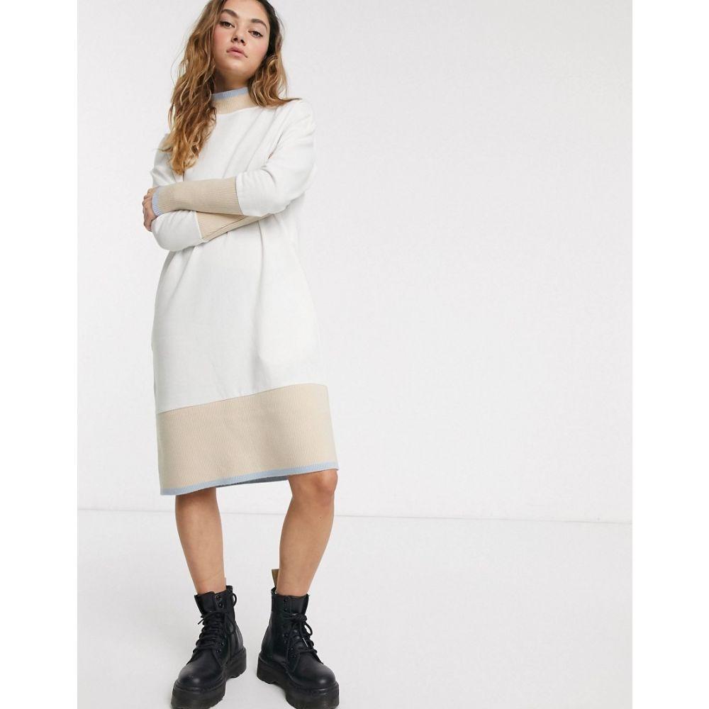 ノイズィーメイ Noisy May レディース ワンピース スウェットワンピ ワンピース・ドレス【midi sweatshirt dress with contrast trims in cream】Multi