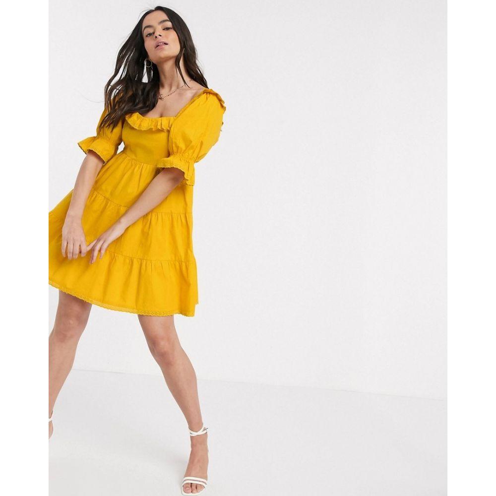 ネオンローズ Neon Rose レディース ワンピース ティアードドレス ティアードスカート ワンピース・ドレス【mini smock dress with tiered skirt and lace trim in cotton】Bright yellow