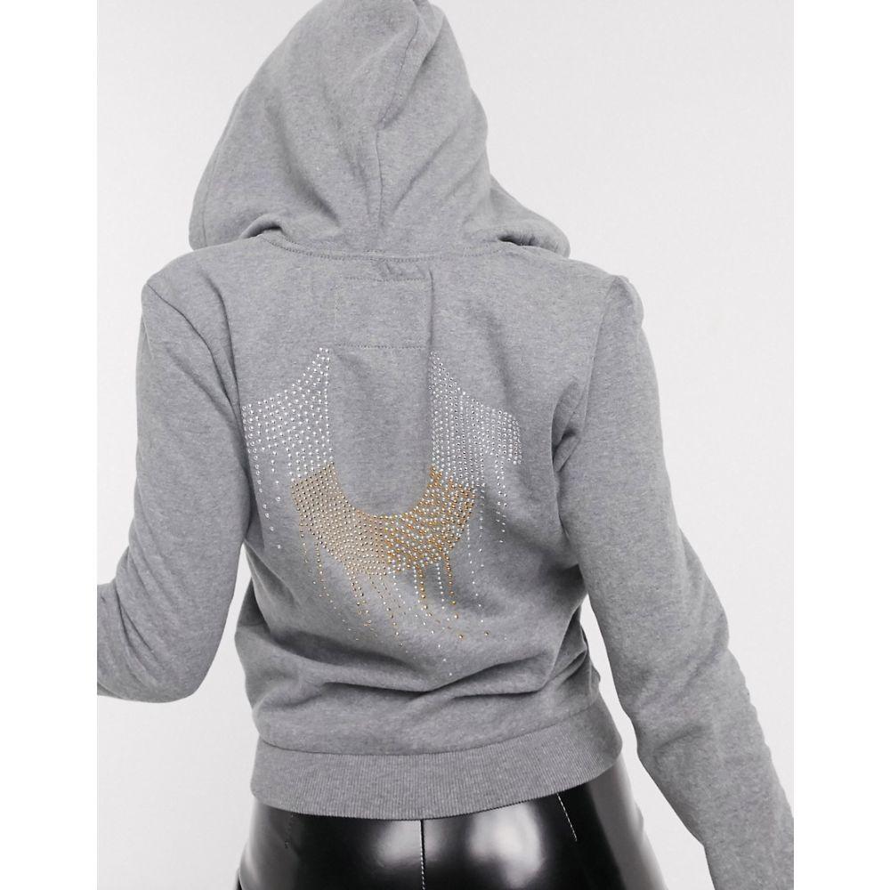 トゥルー レリジョン True Religion レディース パーカー トップス【zip up hoodie in grey】Grey