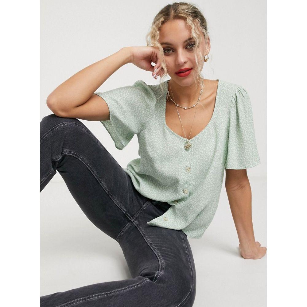 アンドアザーストーリーズ & Other Stories レディース ブラウス・シャツ トップス【pretty floral button through blouse in sage green】Green