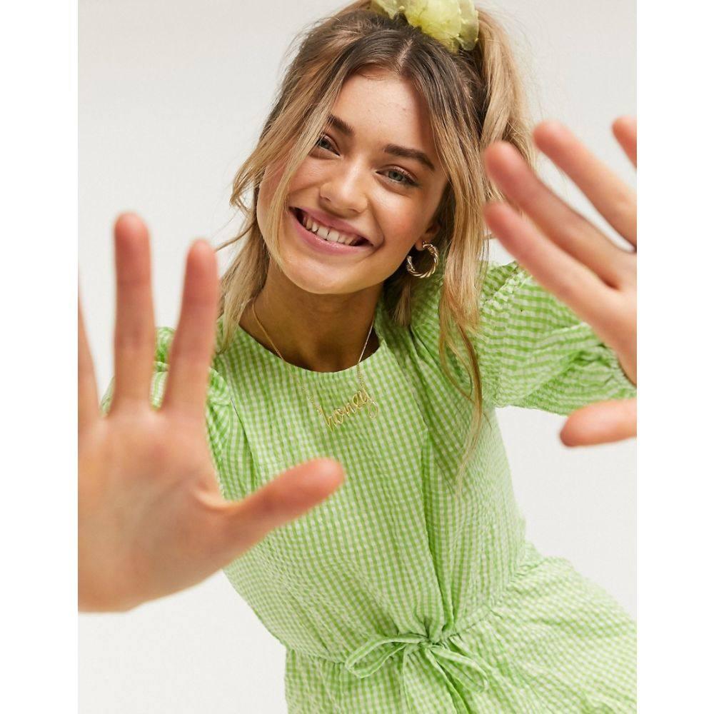 モンキ Monki レディース ワンピース ワンピース・ドレス【Mallan green check smock dress in green】Green check