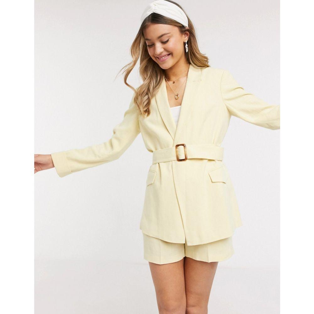 ミス セルフリッジ Miss Selfridge レディース スーツ・ジャケット アウター【linen blazer in lemon co-ord】Lemon