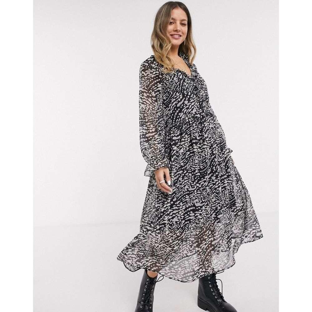 ニュールック New Look レディース ワンピース ミドル丈 ワンピース・ドレス【snow leopard ruffle front midi dress in black pattern】Black pattern