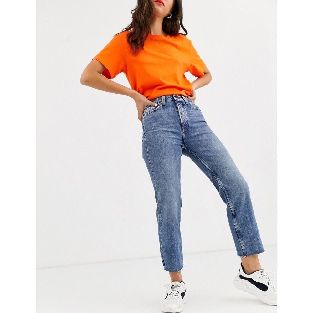 オンリー Only レディース ジーンズ・デニム ボトムス・パンツ【cropped straight leg jeans with high waist in blue】Light blue denim