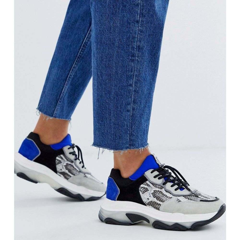 ブロンクス Bronx レディース スニーカー チャンキーヒール シューズ・靴【suede chunky trainers】White/black/cobalt