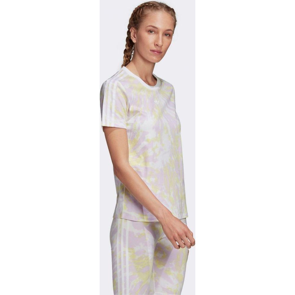 アディダス adidas Originals レディース Tシャツ トップス【three stripe t-shirt in green tie dye】Multi