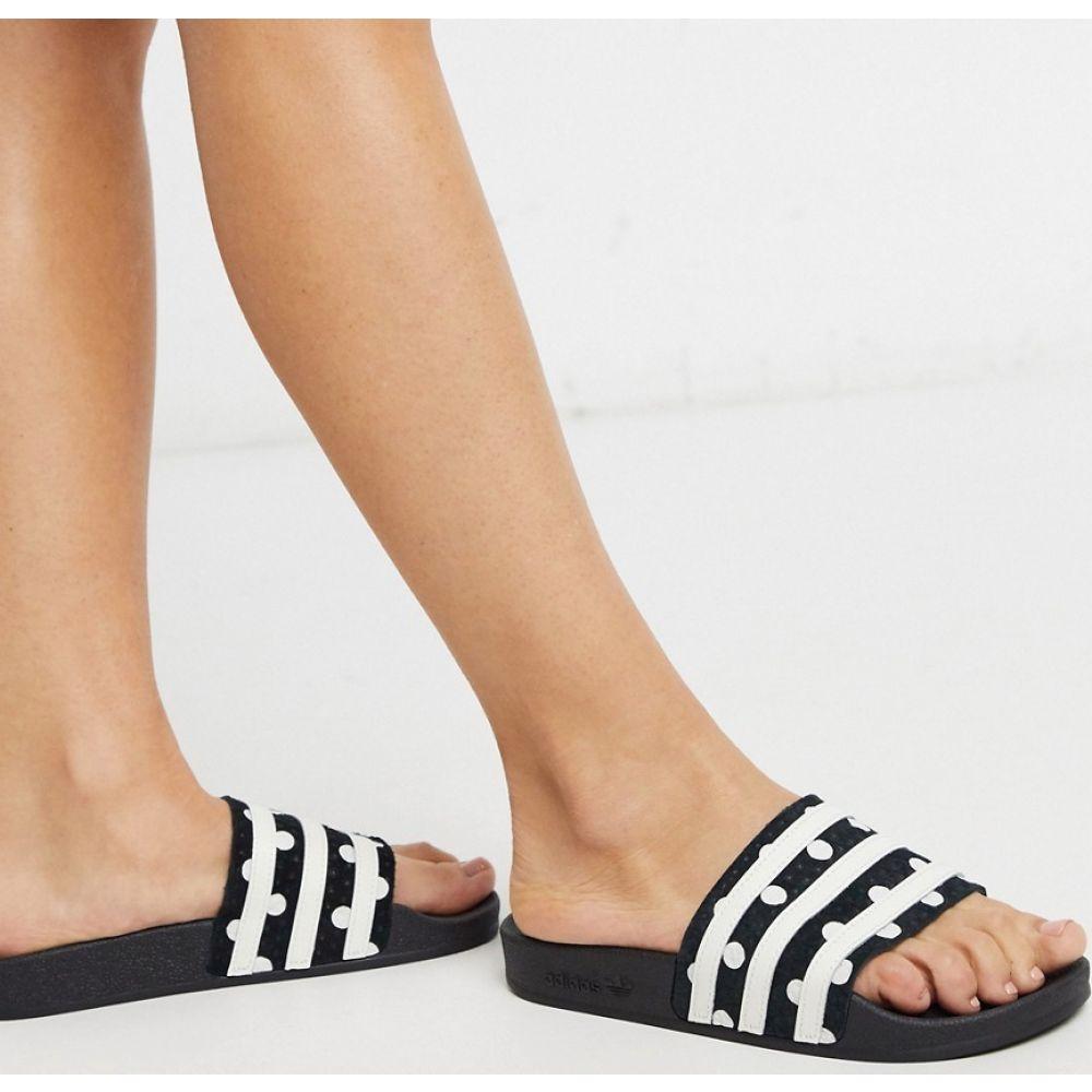 アディダス adidas Originals レディース サンダル・ミュール シューズ・靴【adilette sliders in black with polka dots】Black