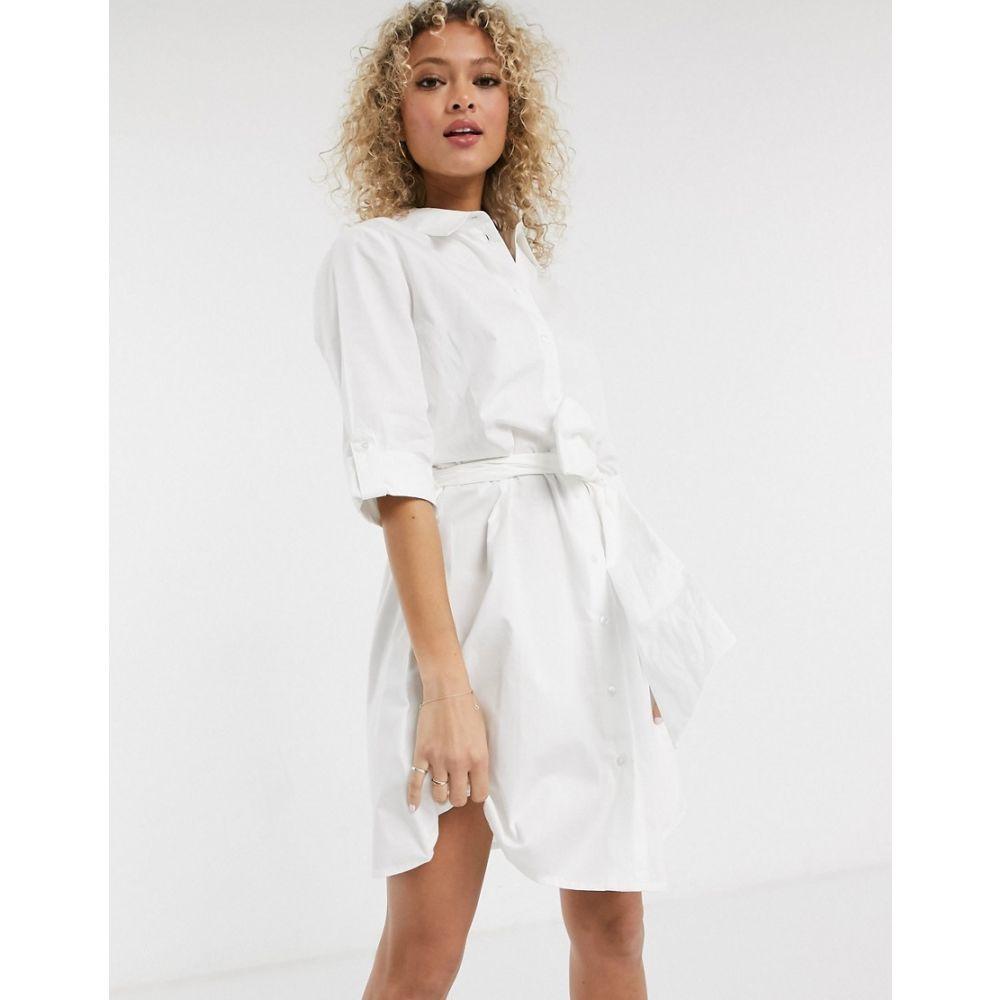 ジェイディーワイ JDY レディース ワンピース シャツワンピース ワンピース・ドレス【shirt dress with tie waist in white】White