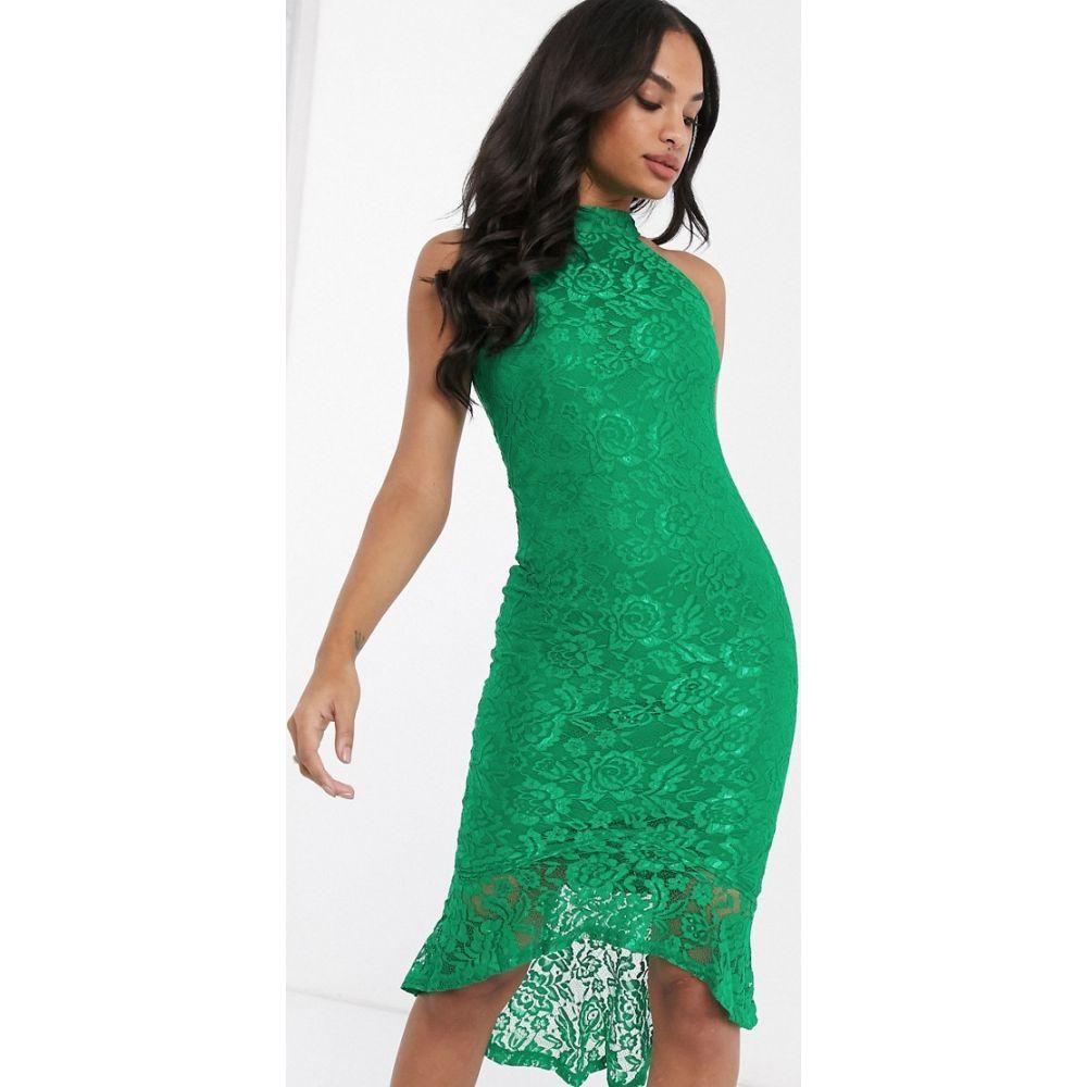 アックスパリス AX Paris レディース ワンピース ワンピース・ドレス【halter neck lace dress with pepum hem】Green