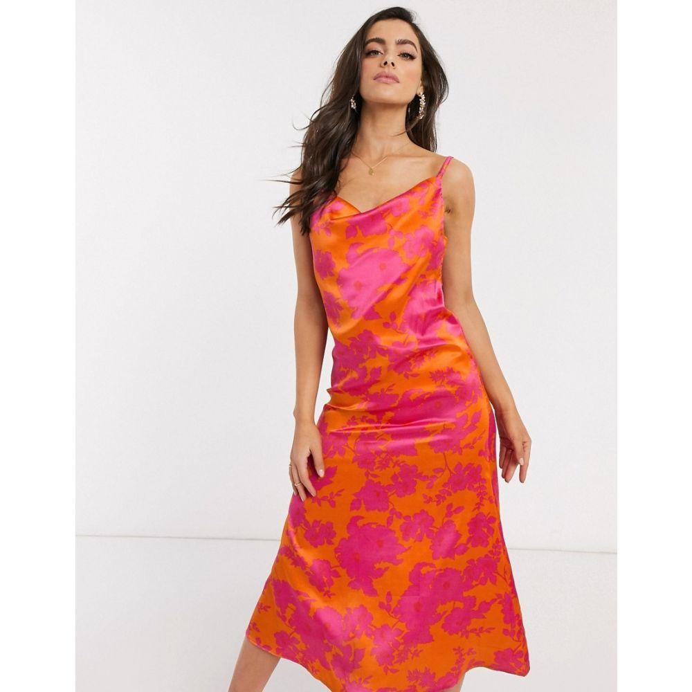 アックスパリス AX Paris レディース ワンピース キャミワンピ ワンピース・ドレス【cowl front cami dress】Orange/fuschia