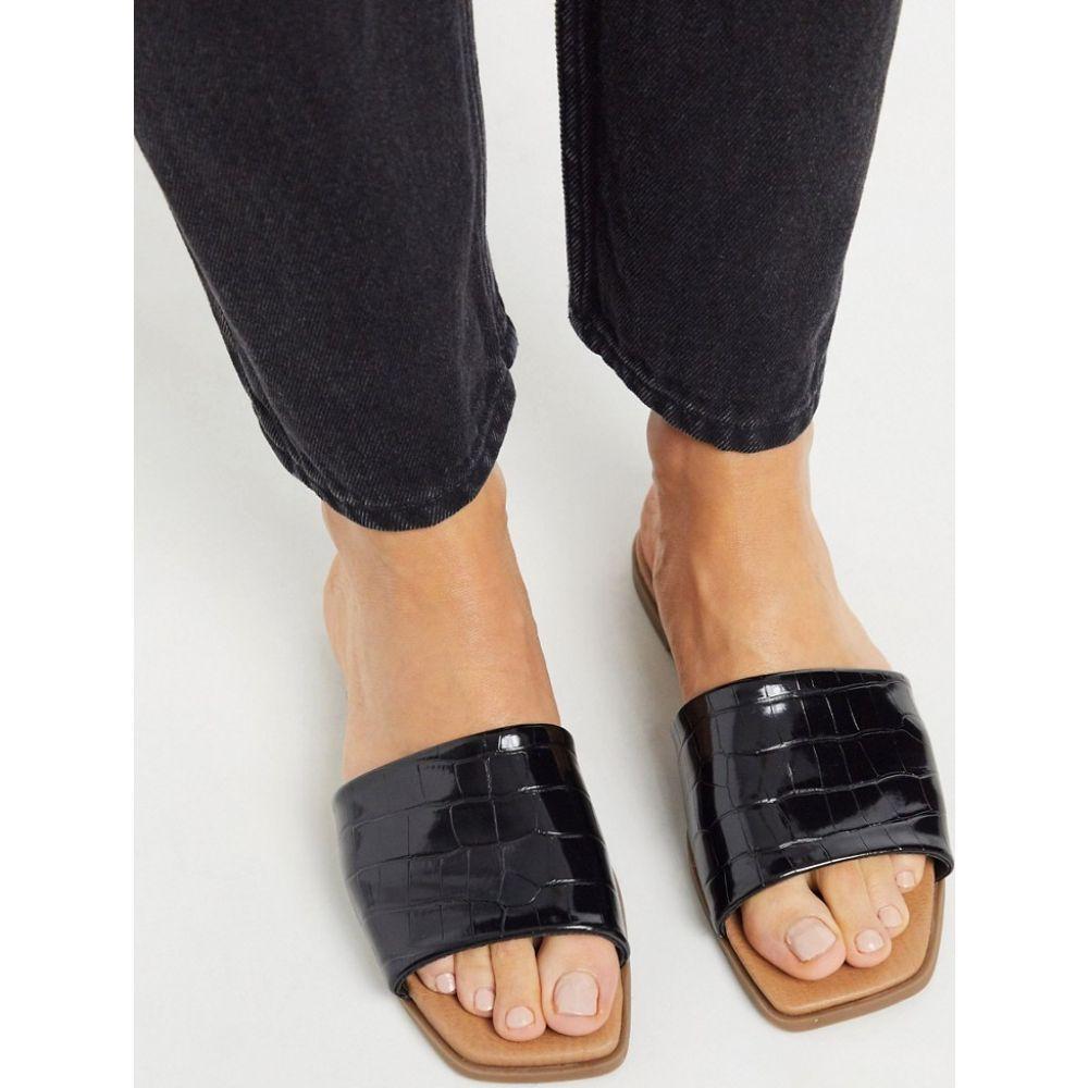 ニュールック New Look レディース サンダル・ミュール スクエアトゥ シューズ・靴【leather look square toe flat mules in black croc】Black