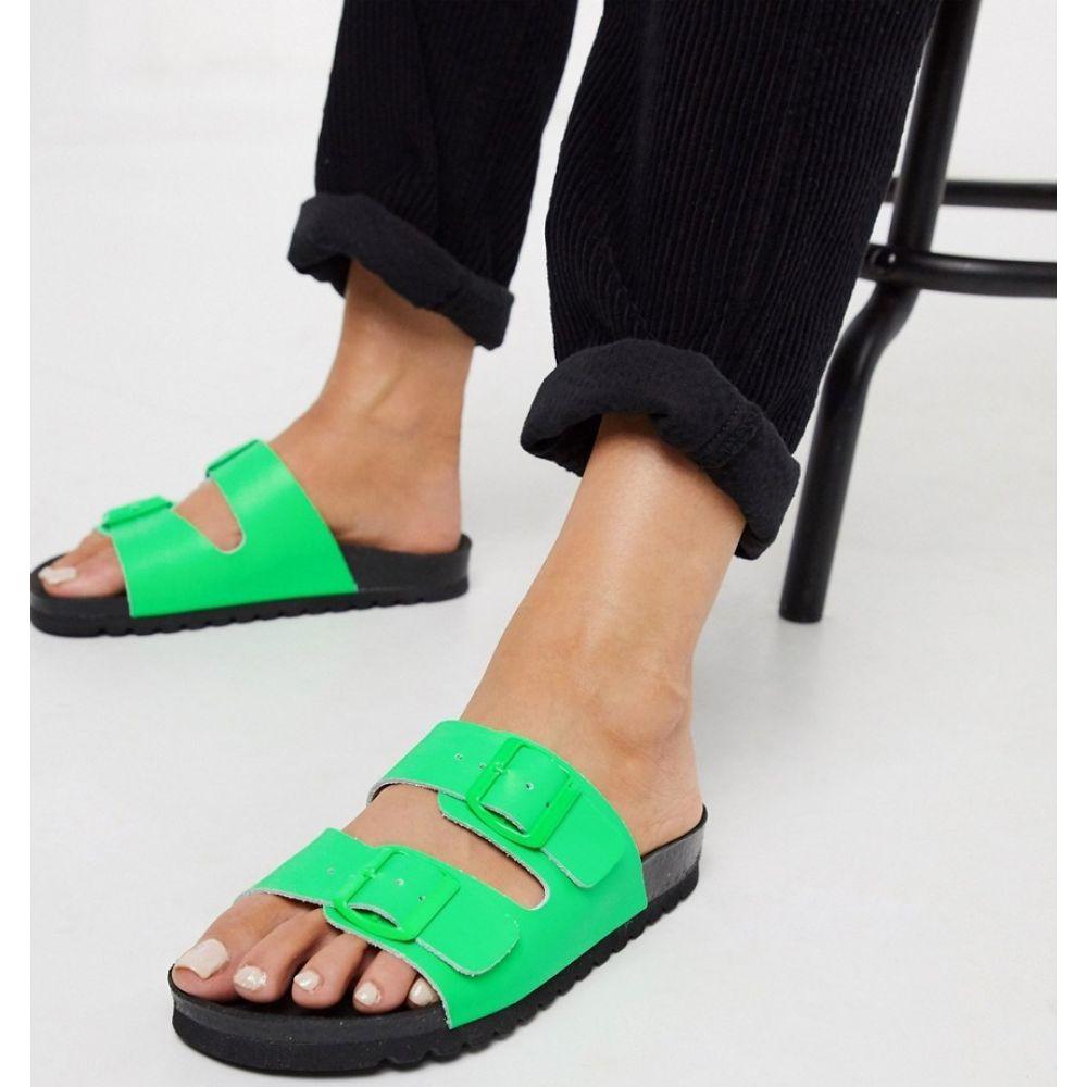 ヴェロモーダ Vero Moda レディース サンダル・ミュール シューズ・靴【leather sandals with neon buckle】Neon green