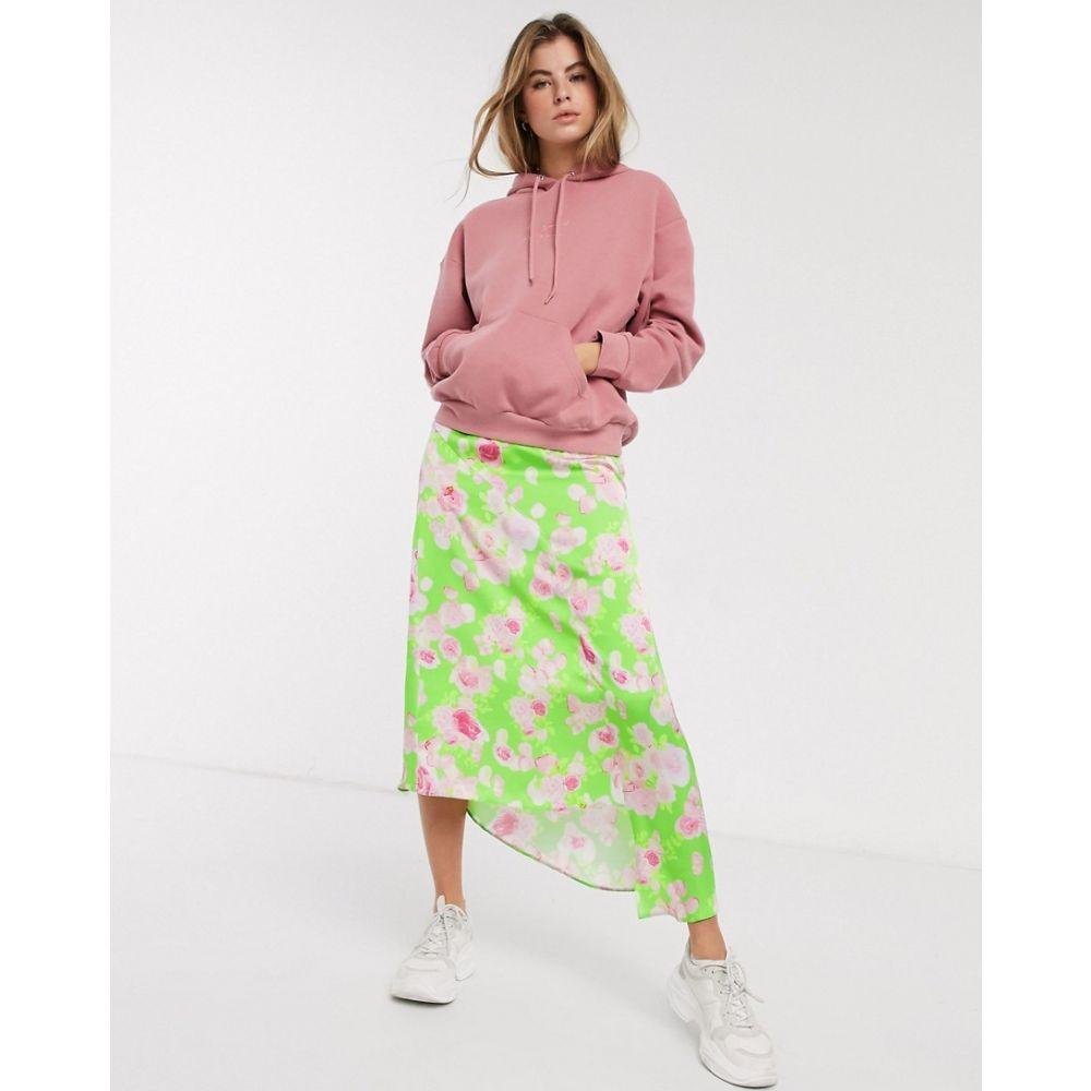 エイソス ASOS DESIGN レディース ひざ丈スカート スカート【asymmetric high shine satin midi skirt in green floral print】Green floral print