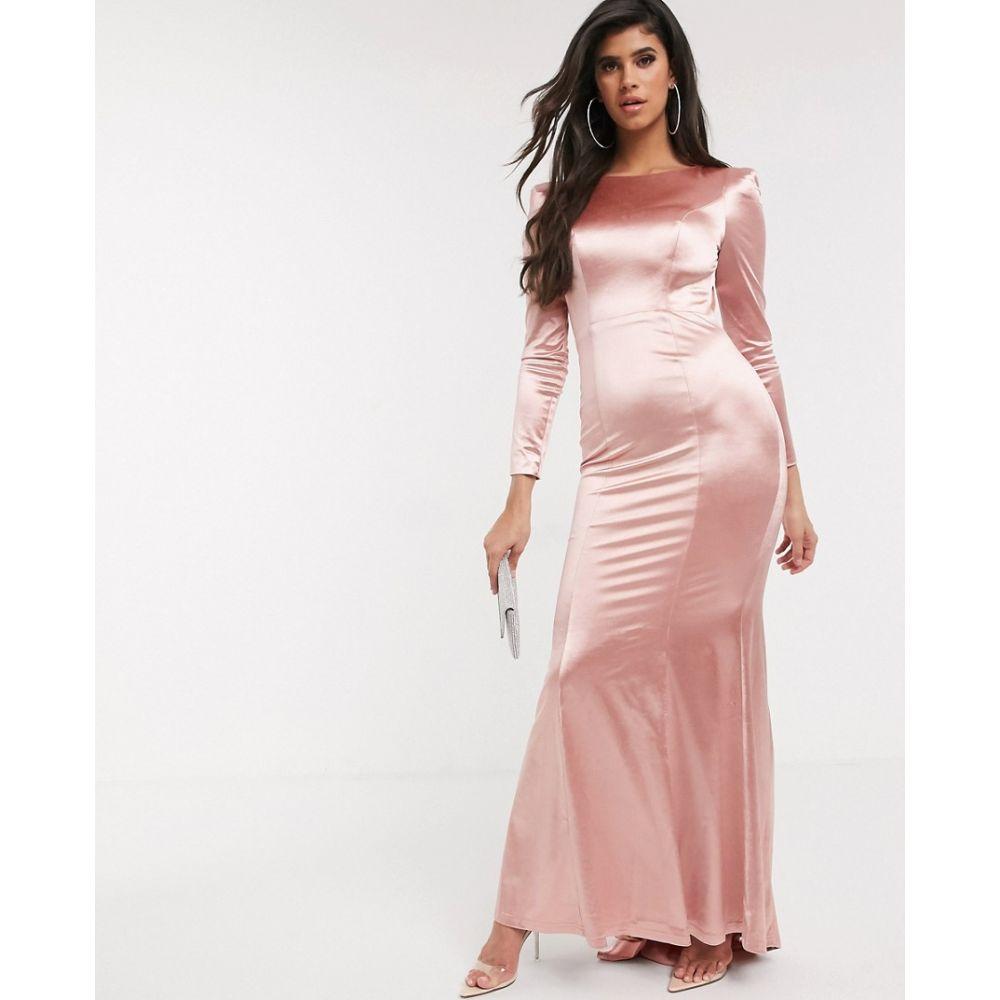 バリアーノ Bariano レディース ワンピース マキシ丈 ワンピース・ドレス【slinky sheen long sleeve maxi dress in rose gold】Rose gold