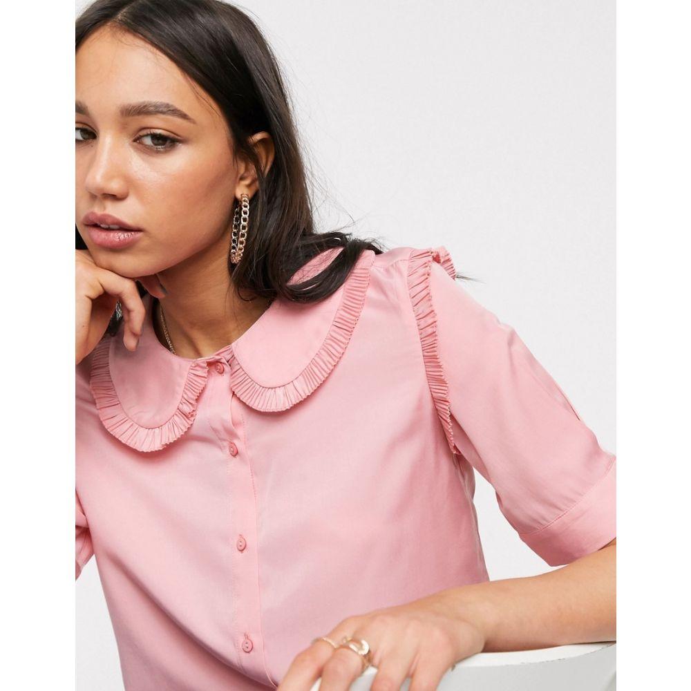 オブジェクト Object レディース ブラウス・シャツ トップス【prairie blouse with oversized collar in pink】Pink
