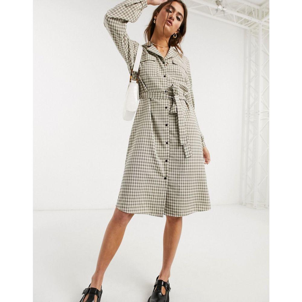 オブジェクト Object レディース ワンピース シャツワンピース ワンピース・ドレス【utility shirt dress in check print】Multi