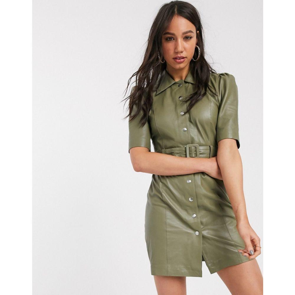 オブジェクト Object レディース ワンピース シャツワンピース ワンピース・ドレス【leather shirt dress in sage】Olive