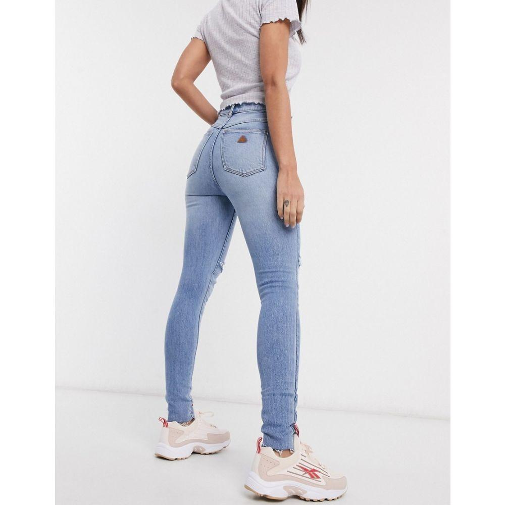 エーブランド Abrand Denim レディース ジーンズ・デニム ボトムス・パンツ【Abrand high rise skinny jeans with rip in lightwash blue】Florence rip