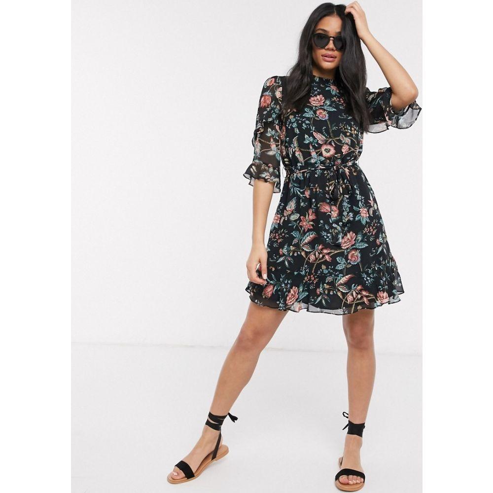 オアシス Oasis レディース ワンピース スケータードレス ワンピース・ドレス【balinese floral print skater dress in black】Multi black