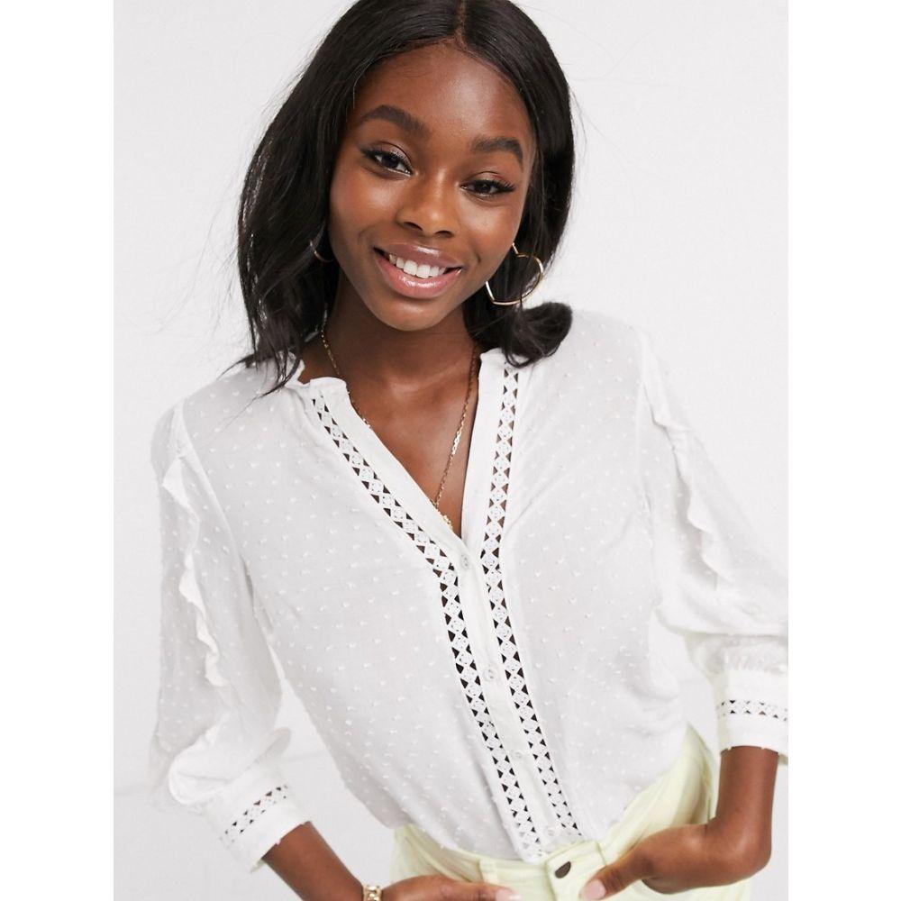 オアシス Oasis レディース ブラウス・シャツ トップス【dobby lace trim ruffle blouse in white】Off white