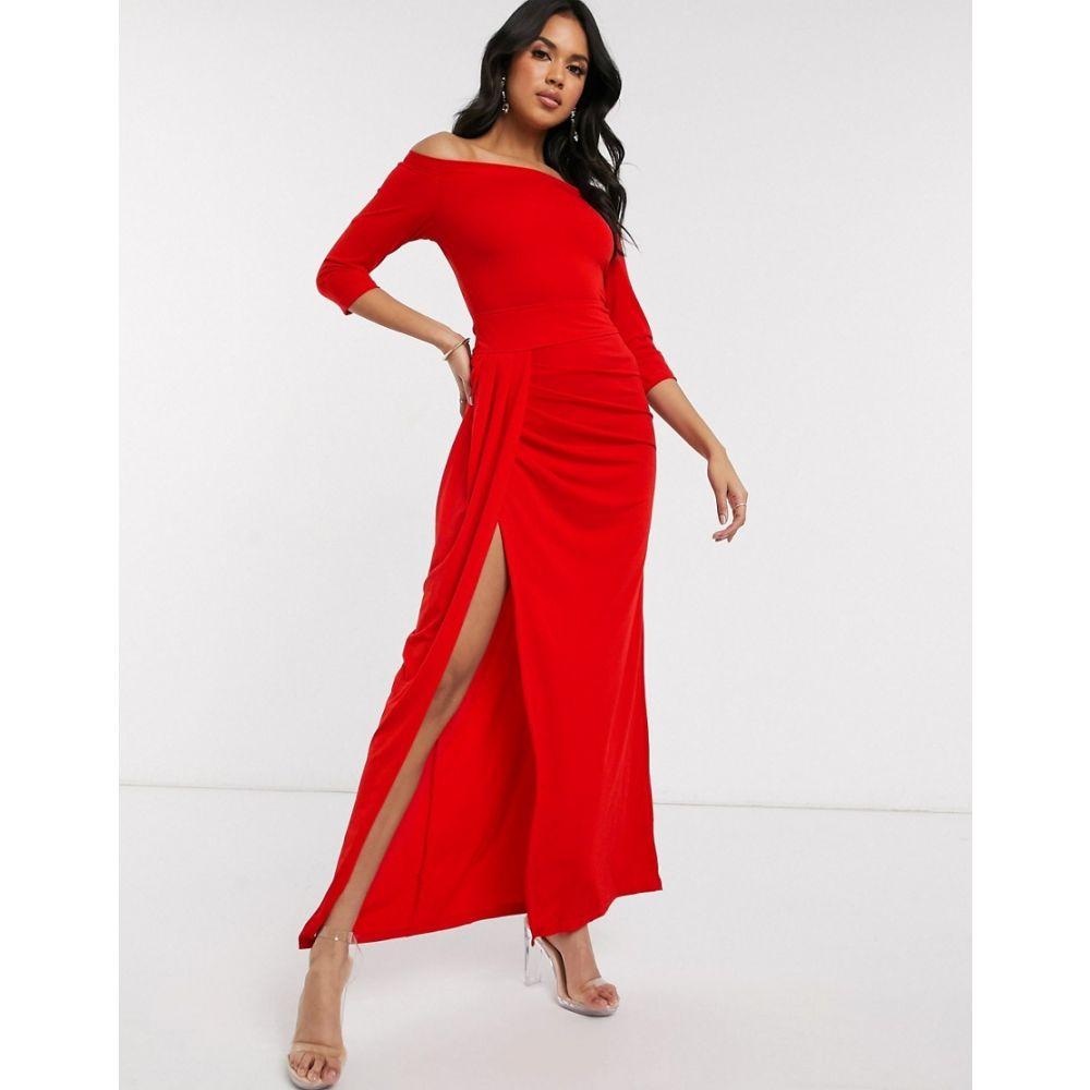 アックスパリス AX Paris レディース ワンピース マキシ丈 ワンピース・ドレス【slinky bardot maxi dress in red】Red