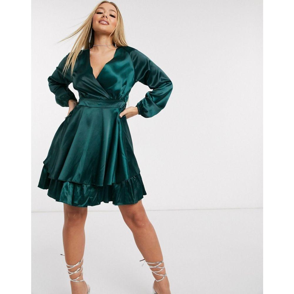 アックスパリス AX Paris レディース ワンピース ラップドレス ワンピース・ドレス【satin wrap dress in teal】Green