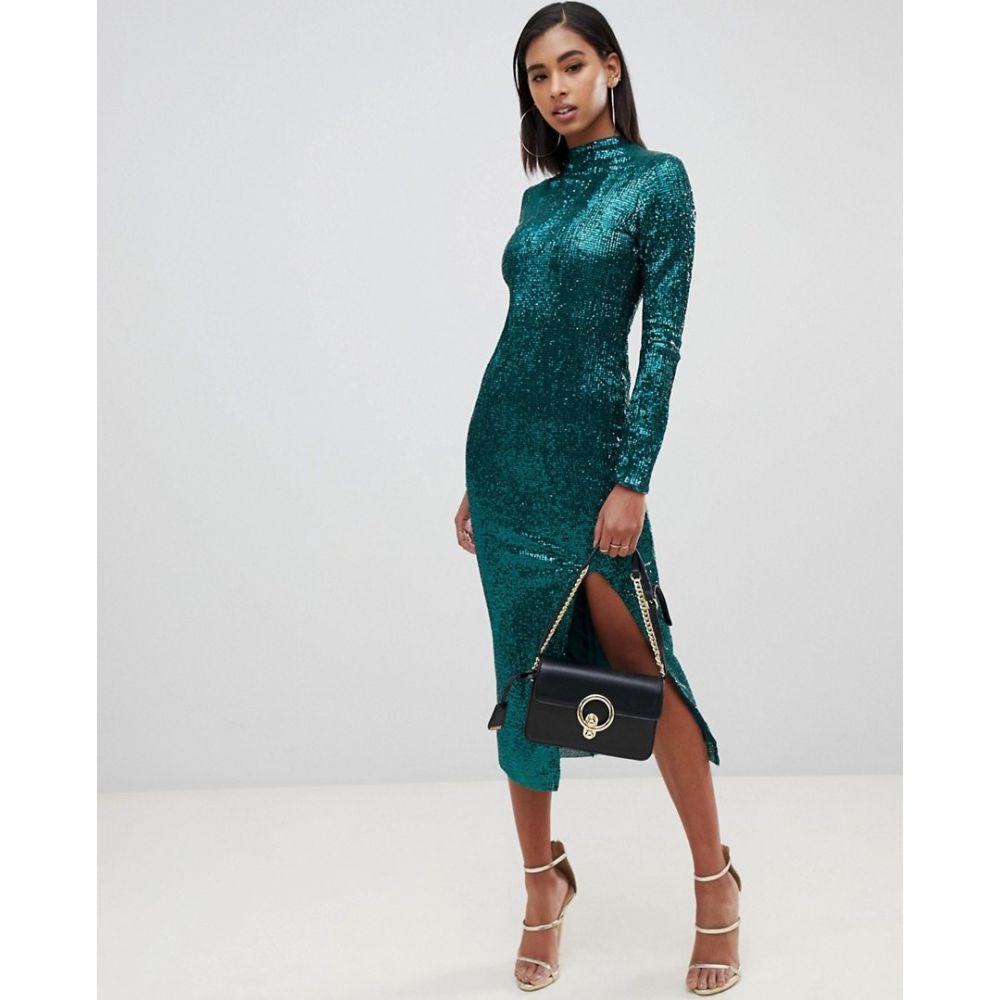 クラブエル ロンドン Club L London レディース ワンピース ミドル丈 ワンピース・ドレス【Club L high neck all over sequin open back midi dress】Green