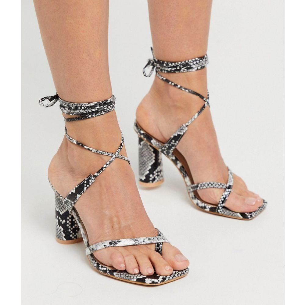 プリティリトルシング PrettyLittleThing レディース サンダル・ミュール シューズ・靴【block heeled sandal with strappy ankle ties in snake】Snake