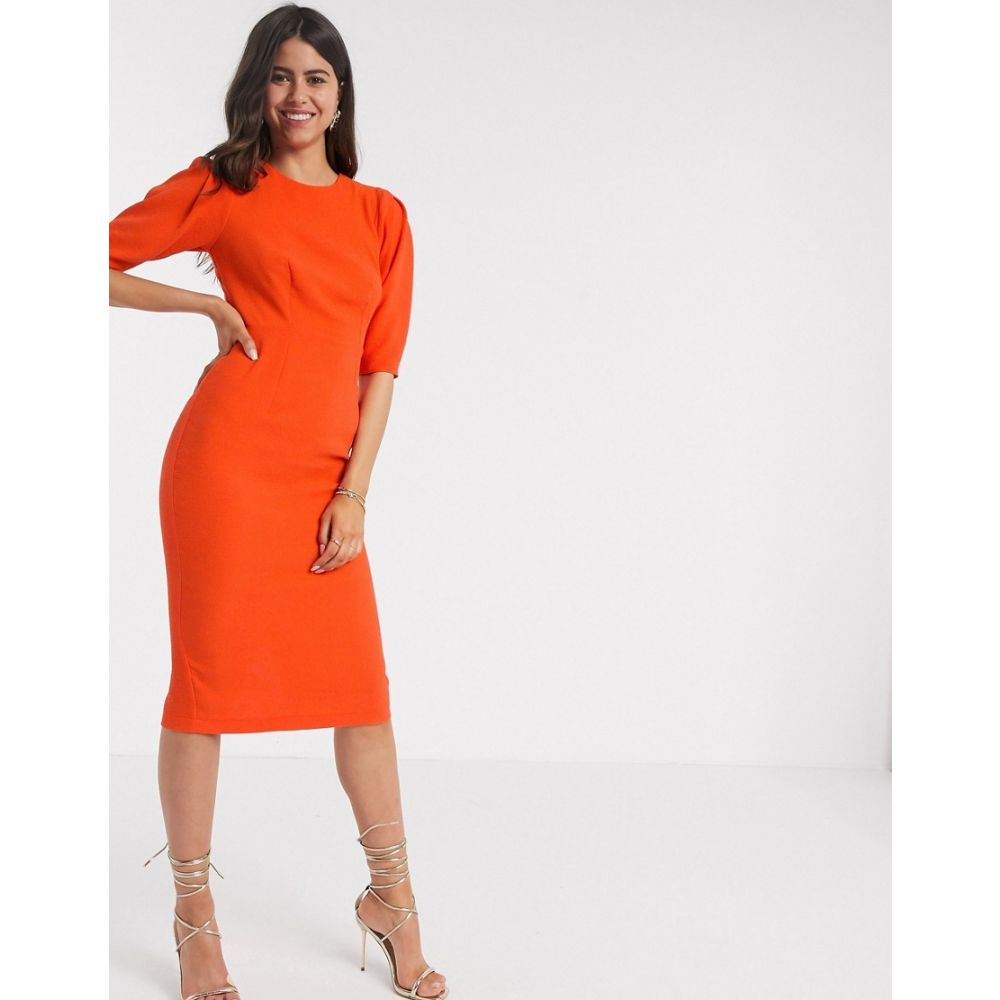 クローゼットロンドン Closet London レディース ワンピース ミドル丈 ワンピース・ドレス【wiggle midi dress in orange】Orange