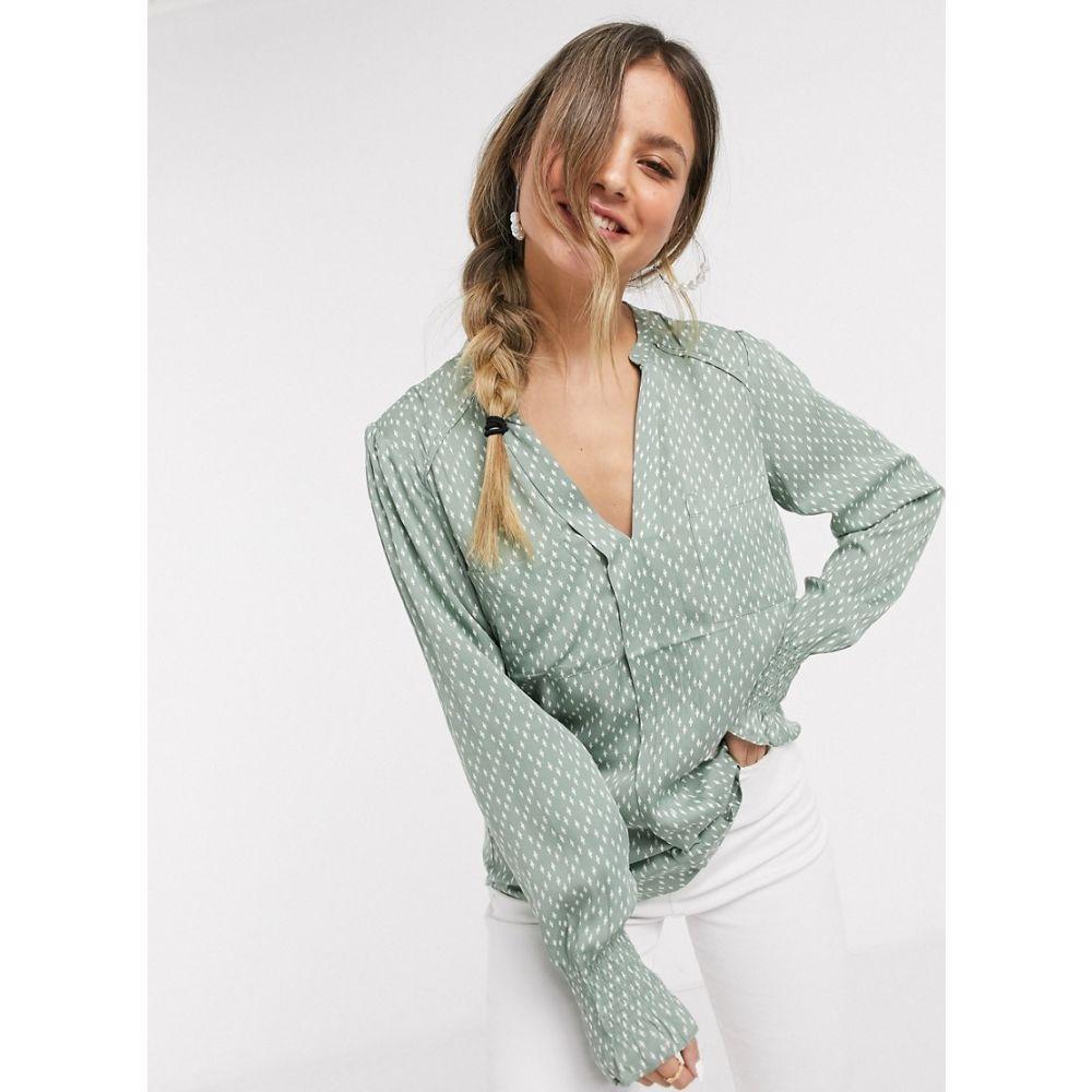 オアシス Oasis レディース ブラウス・シャツ Vネック トップス【printed v-neck blouse in green】Multi green