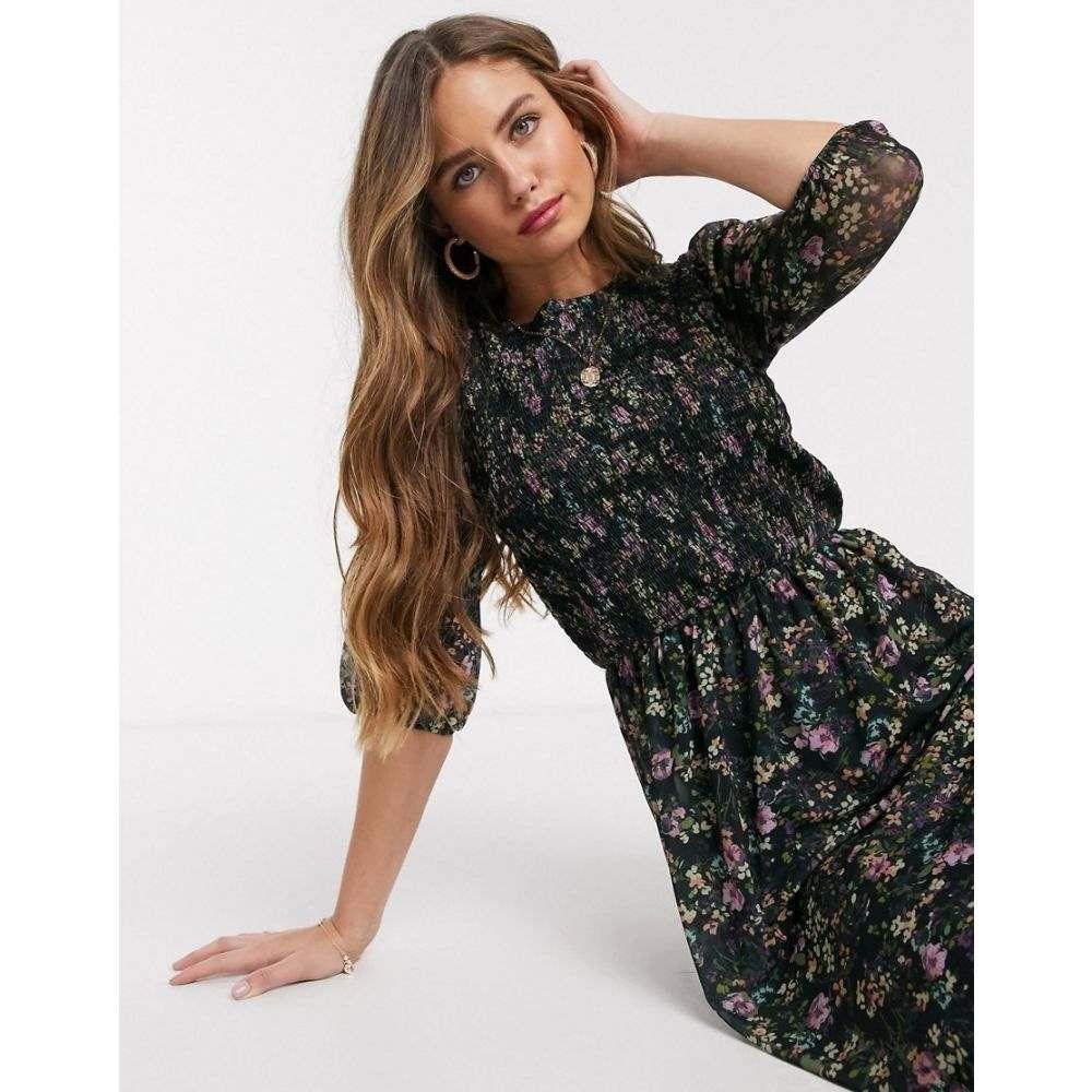 オアシス Oasis レディース ワンピース ワンピース・ドレス【floral print pleated midi dress in navy】Multi blue