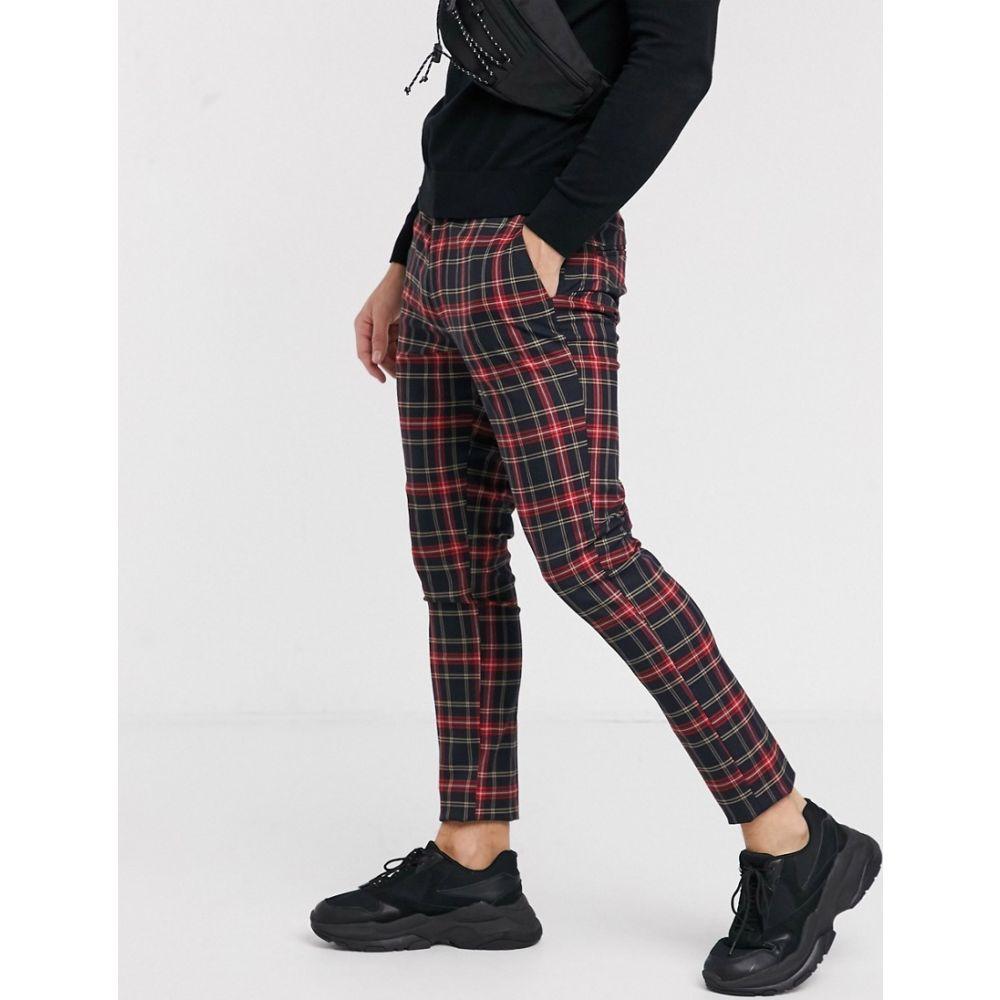 エイソス ASOS DESIGN メンズ スキニー・スリム ボトムス・パンツ【super skinny smart trousers in black check】Black