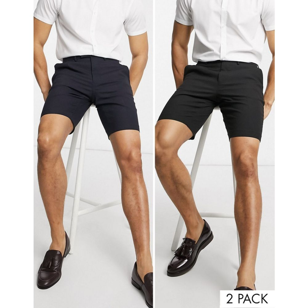 エイソス ASOS DESIGN メンズ ショートパンツ 2点セット ボトムス・パンツ【2 pack slim mid length smart shorts in black and navy SAVE】Black/navy