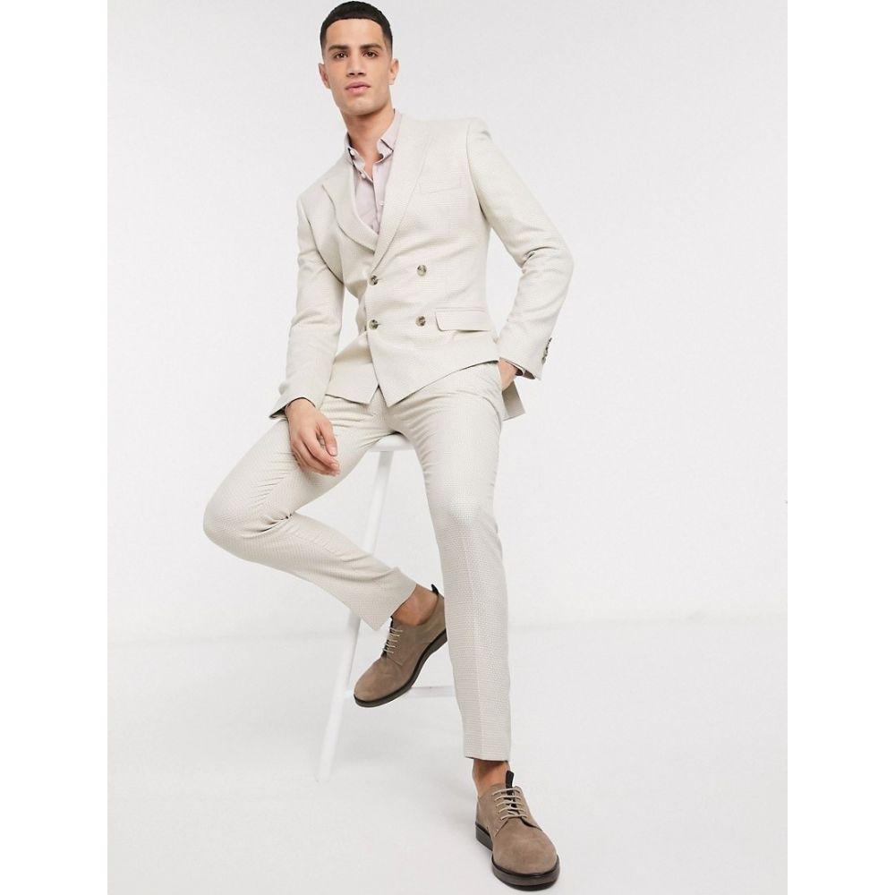エイソス ASOS DESIGN メンズ スラックス ボトムス・パンツ【skinny suit trousers in stone texture】Stone