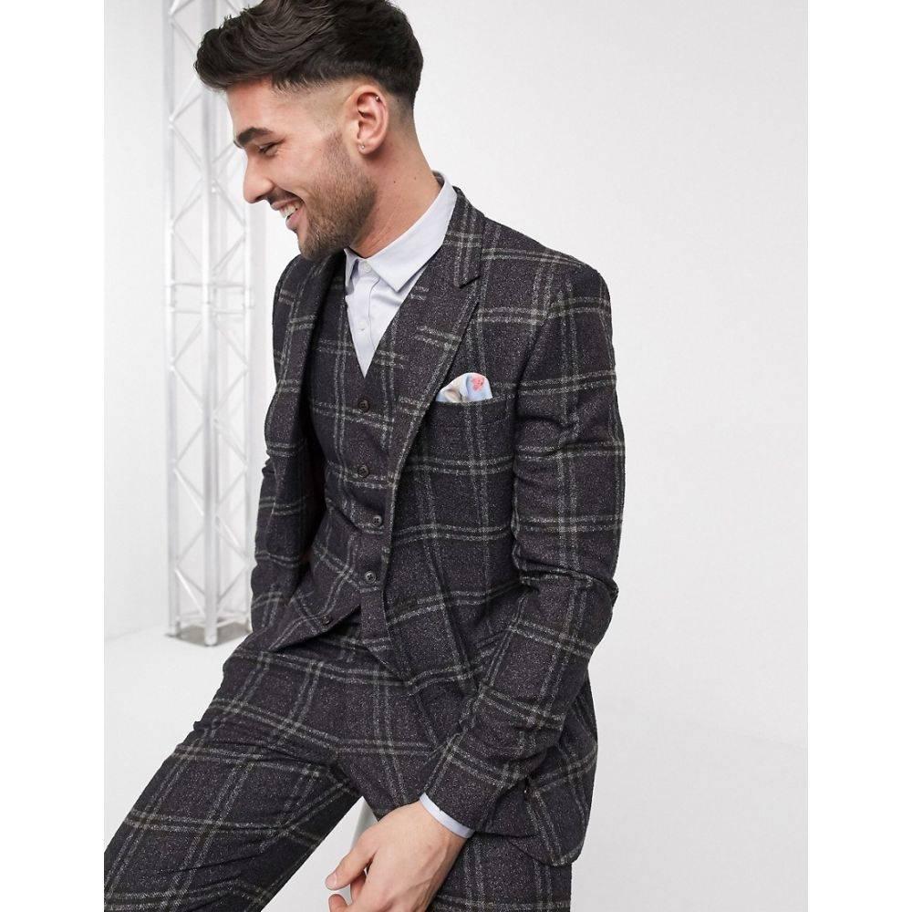 エイソス ASOS DESIGN メンズ スーツ・ジャケット アウター【wedding slim suit jacket in wool mix with window check in brown】Brown