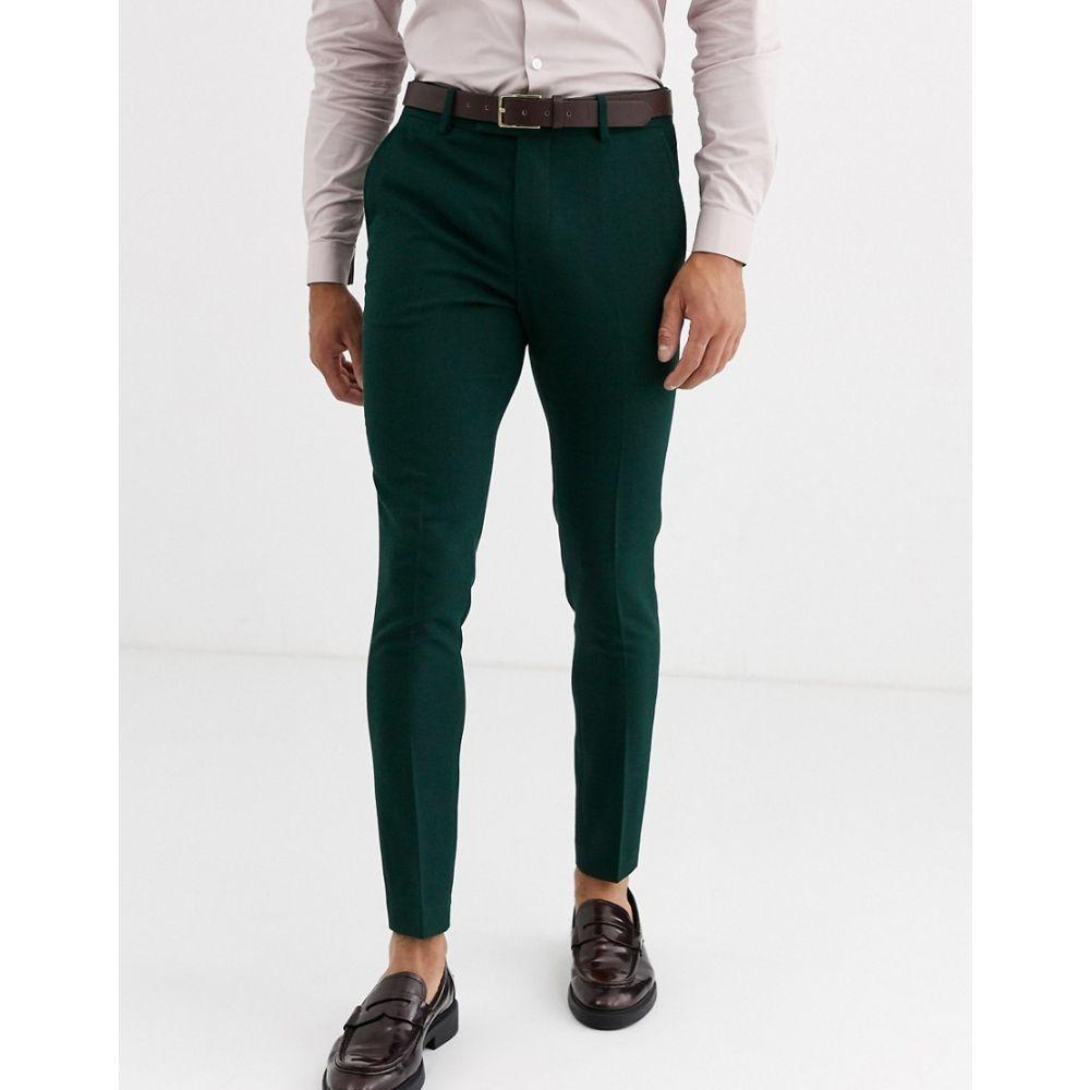 エイソス ASOS DESIGN メンズ スラックス ボトムス・パンツ【wedding super skinny suit trousers in forest green micro texture】Green