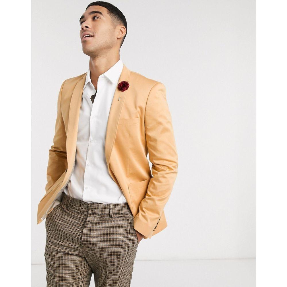 エイソス ASOS DESIGN メンズ スーツ・ジャケット アウター【wedding super skinny cotton blazer in camel】Tan