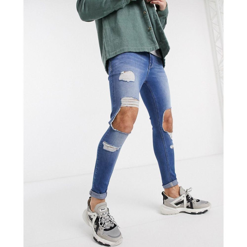 エイソス ASOS DESIGN メンズ ジーンズ・デニム ボトムス・パンツ【spray on jeans in power stretch with open rips in mid blue】Mid wash blue