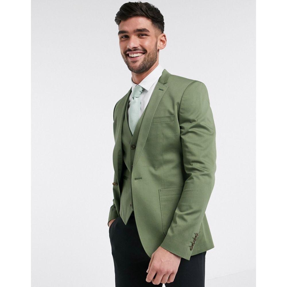 エイソス ASOS DESIGN メンズ スーツ・ジャケット アウター【super skinny blazer in olive stretch cotton】Green