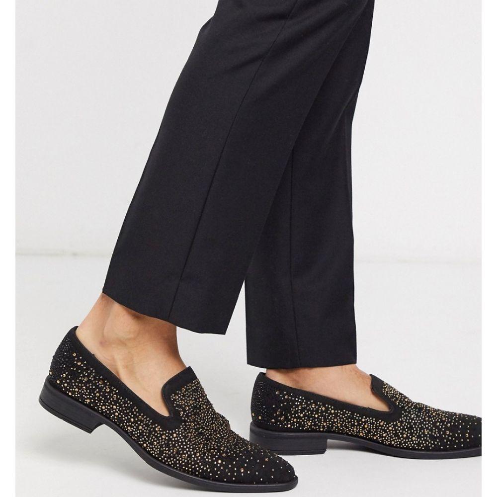 エイソス ASOS DESIGN メンズ ローファー シューズ・靴【loafers in black velvet with diamante detail】Black