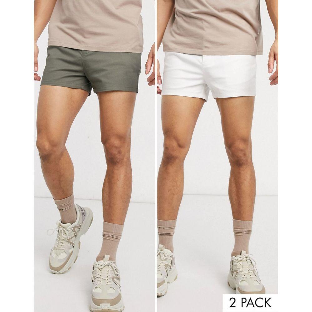 エイソス ASOS DESIGN メンズ ショートパンツ 2点セット ボトムス・パンツ【2 pack skinny chino super short shorts in khaki & white save】White/dusty olive
